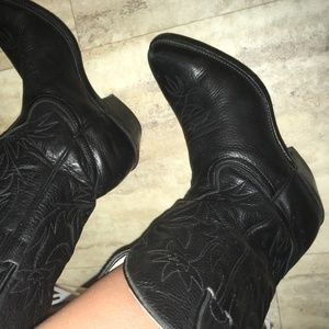Shoes - Vintage Retro Black Wester Cowgirl Boot